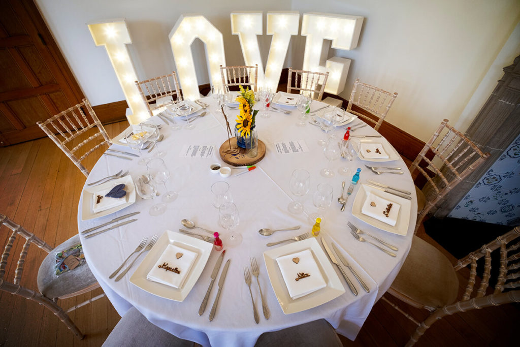 Coombe Lodge Bristol wedding hire LOVE light-up letters