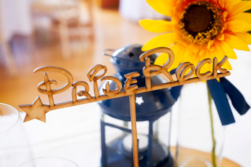 Coombe Lodge Disney table name wood laser-cut