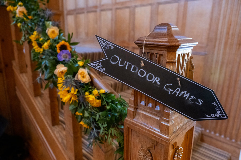 Coombe Lodge Somerset wedding outdoor games sign