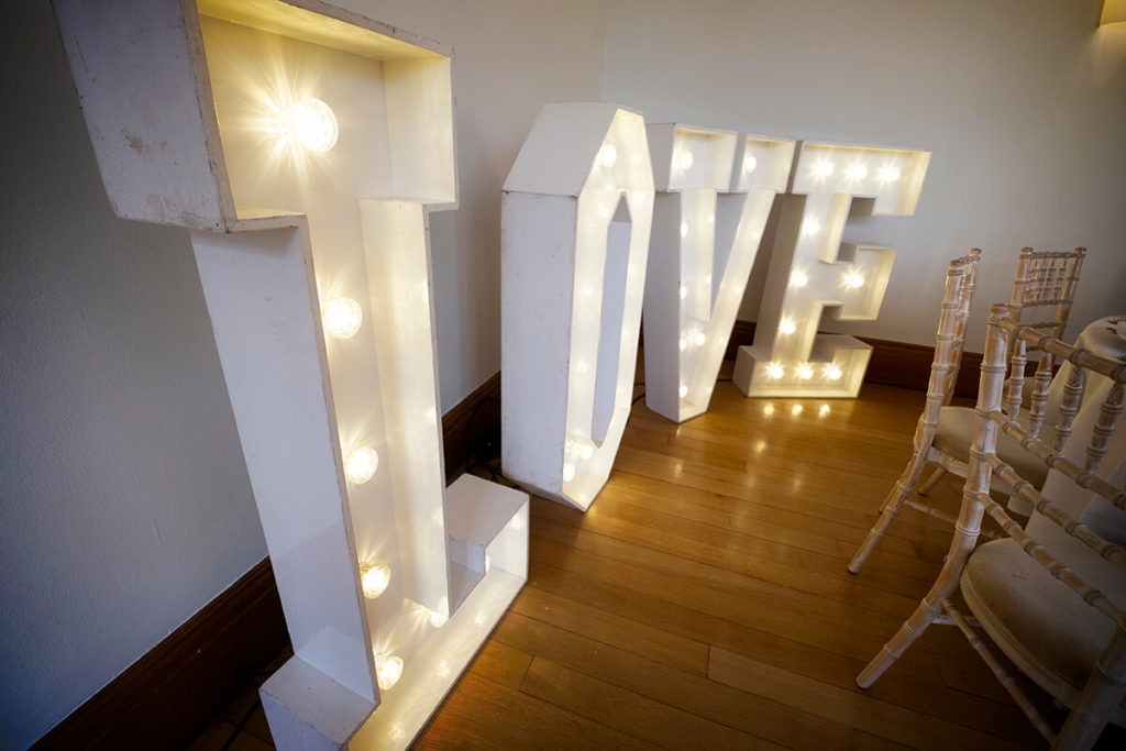 Coombe Lodge wedding Bristol LOVE light-up letters hire